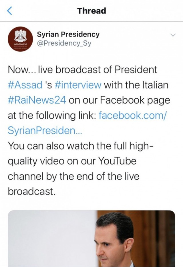 Immediately after Assad's interview on OPCW account was restricted