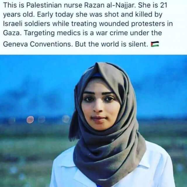 Razan al-Najjar killed by Israelis - but the world is silent