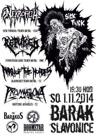 Koncert Nekrofilth, Repuked, March of the Hordes, Průmyslová Smrt - Slavonice, The Barakos - 01.11.2014