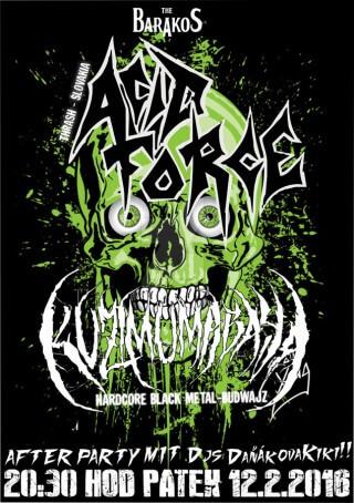 Koncert Acid Force, Kuzimu Mabaya, Dj: daŇÁk a kristÝna - Slavonice, The Barakos - 12.02.2016