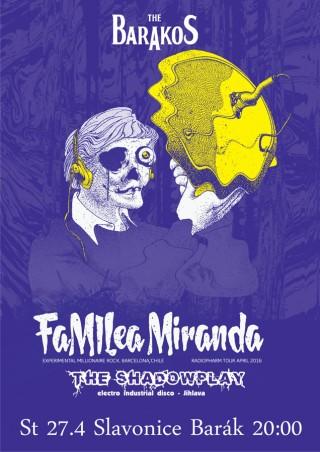 Koncert Familea Miranda, The Shadowplay - Slavonice, The Barakos - 27.04.2016