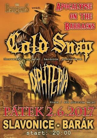 Koncert Cold Snap, Diphteria - Slavonice, The Barakos - 02.06.2017