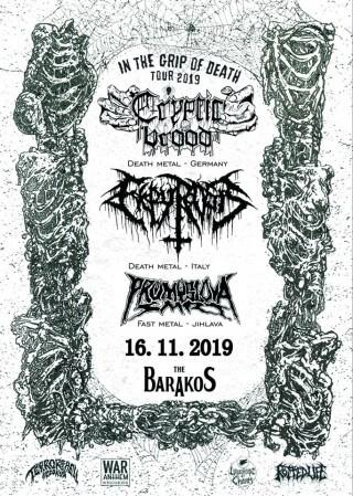 Koncert Cryptic Brood + Ekpyrosis + Prumyslova Smrt - Slavonice, The Barakos - 16.11.2019