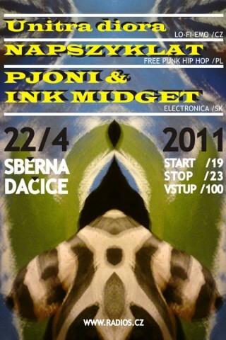 Koncert Unitra Diora, Napszyklat, Ink Midget and Pjoni - Dacice, Sběrna - Dacice